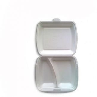 Meal box with 2-sections disposable 25×20.5cm h-7.5cm 25pcs
