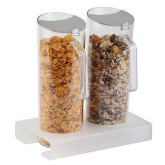 Dispenser three-piece with two containers for cereal 26x15.5cm