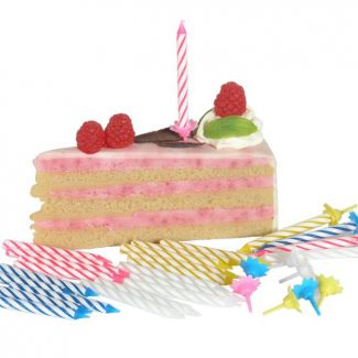 Birthday candles with holders h-65mm mixed 24 candles+12 holder