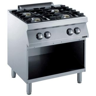 Gas stove with 4 burners and an open base