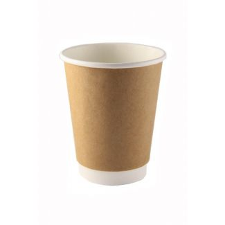 Double wall cup disposable HOT NATURAL ø90mm 350ml 25pcs.