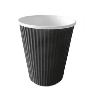 Rippled cup disposable 350ml 25pcs black