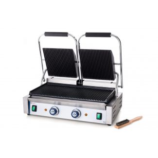Contact grill top and bottom ribbed - double version