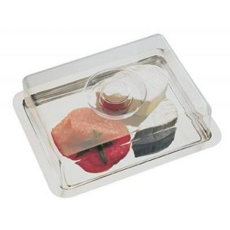 Cake plate s/s tray with cover 24.8x19.1cm h-6.3cm