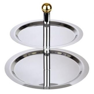 Cake stand FINESSE 2-tier golden plated knob ø32/38cm h-40cm