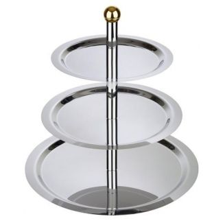 Cake stand FINESSE 2-tier tray golden plated knob ø32/48cm h-50cm