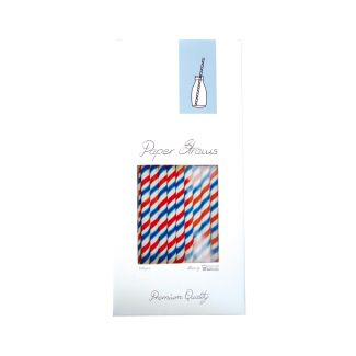Straws Paper ø 0.8cm h-25.5cm 100pcs with stripes