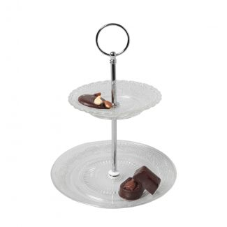 Cake stand 2-level RETRO GLASS ø18cm h-23.5cm