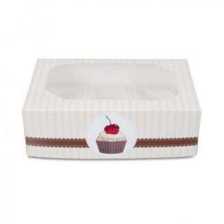Box muffin 6-section 24x16.5cm h-7.5cm with a pattern