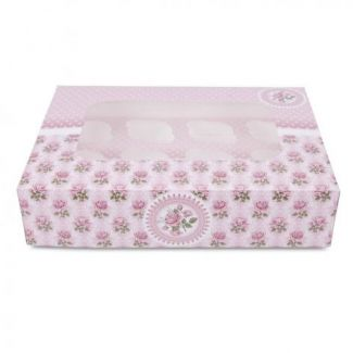 Box muffin 12-section 33cm h-7.5cm with rose pattern