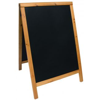 Duplo pavement chalkboard SECURIT with lacquered teak finish 55x85cm