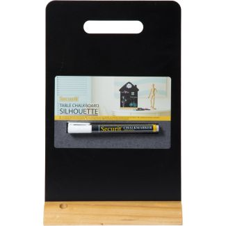 Securit Table chalkboard with handle wooden base 32.5x21x6cm
