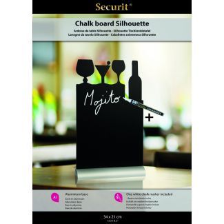 Securit Silhouette cocktail table chalkboard including chalkmarker 35x21x4cm