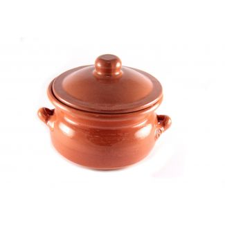 Pot round with lid 500ml brown