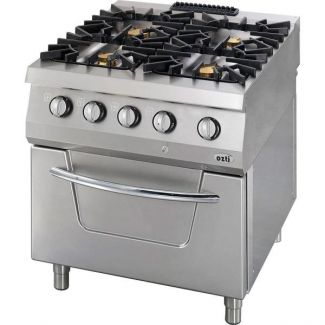 Gas stove with 4 burners and electric oven