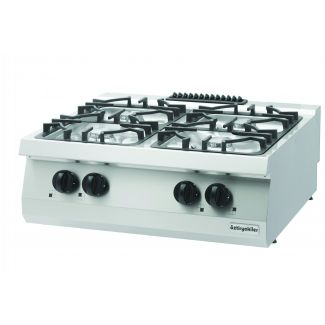 Gas stove surface with four burners
