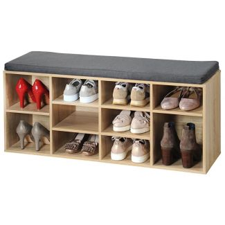 Bench/stand for footwear 8 shelves 103.5x29.5x48cm light wood