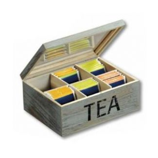 Tea box, with 6 inner-boxes, Vintage, gray Size: 21,7 x 16 x 9 cm