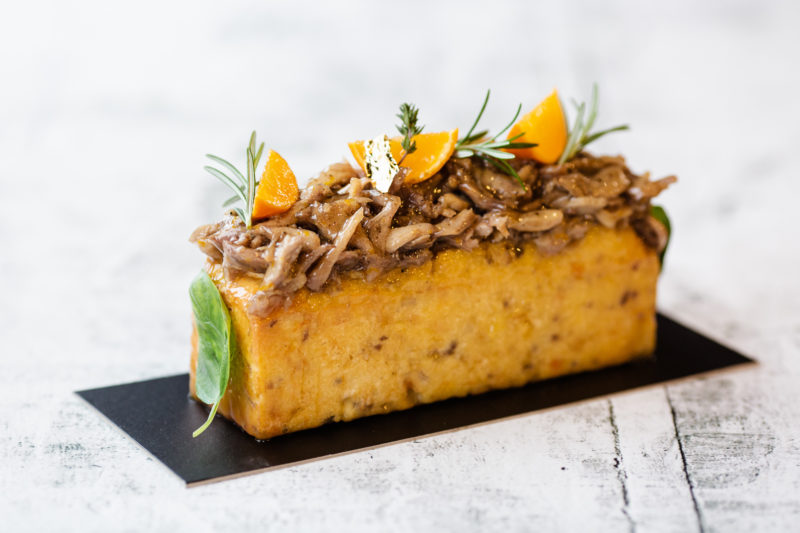 Salty Cake with Duck, Foie Gras and Oranges by Hans Ovando